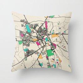 Colorful City Maps: Marrakesh, Morocco Throw Pillow