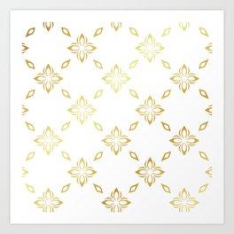 Golden Thai Pattern Art Print