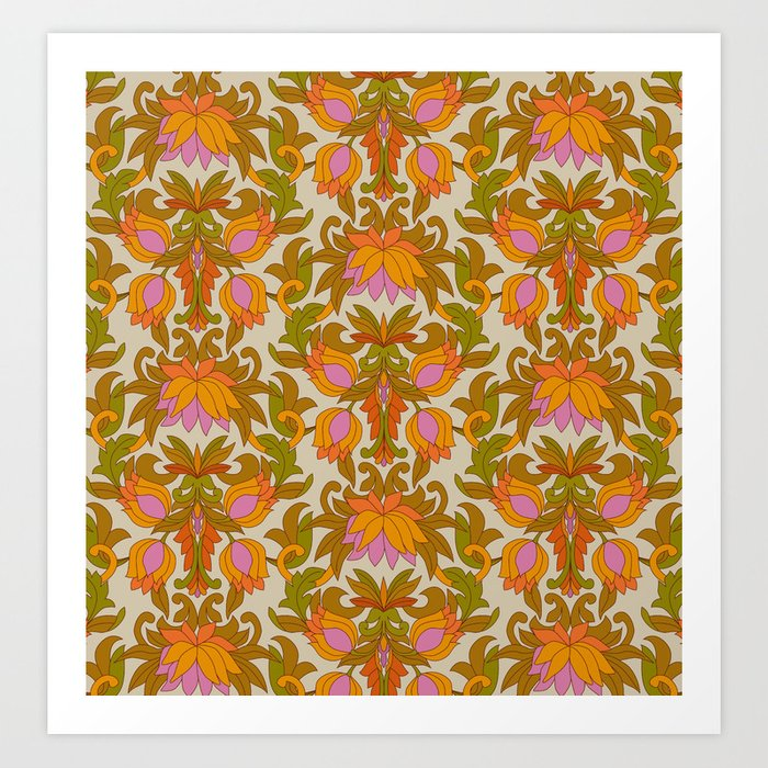 Orange, Pink Flowers and Green Leaves 1960s Retro Vintage Pattern Kunstdrucke