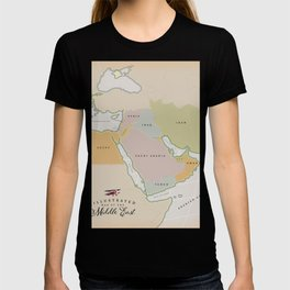 Illustrated map of the Middle East T-shirt