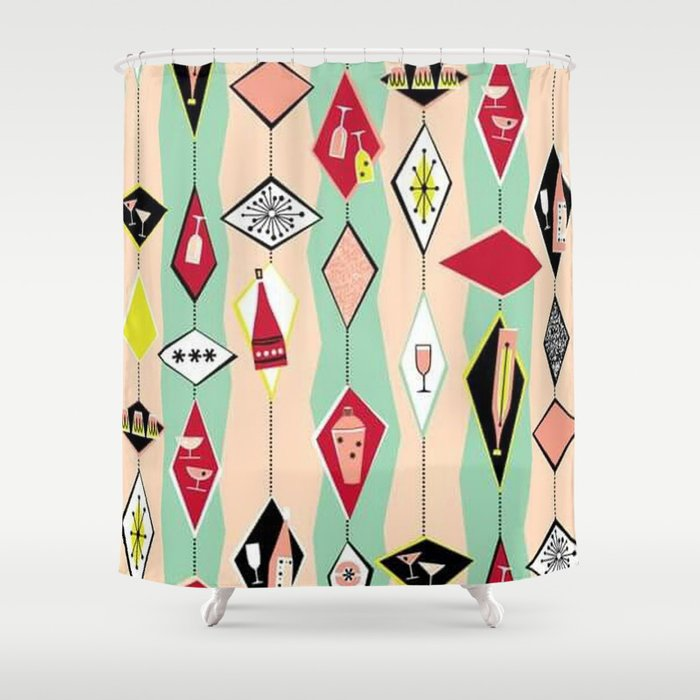 Retro 1950s Diamond Pattern Pink Turquoise Shower Curtain By