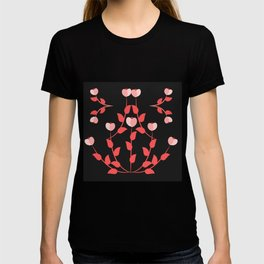 Pink floral fantasy dark T-shirt