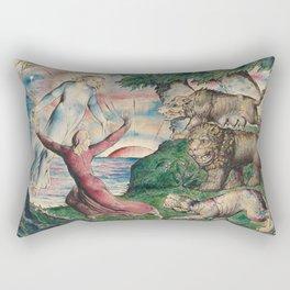 William Blake - Dante Running From The Three Beasts. Rectangular Pillow