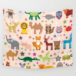 Set of funny cartoon animals character on pink seamless background. zoo. Vector Wall Tapestry