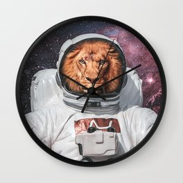 Lion On Space Poster Wall Clock