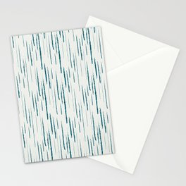 Tropical Dark Teal Abstract Grunge Vertical Stripe Pattern Inspired by Sherwin Williams 2020 Trending Color Oceanside SW6496 on Off White Stationery Cards