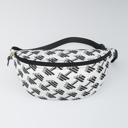 Dumbbellicious / Black and white dumbbell pattern Fanny Pack