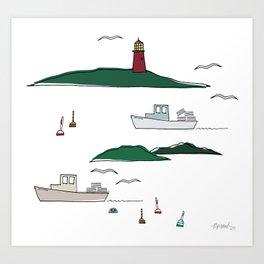Lobstering in the Harbor Art Print