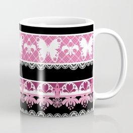 Black and pink striped pattern . Coffee Mug
