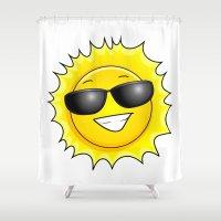 sunglasses Shower Curtains featuring sunglasses on by Li-Bro