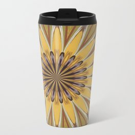 Yellow and Ochre Flower Pattern Abstract Travel Mug