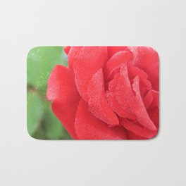 Macro Red Rose Bath Mat