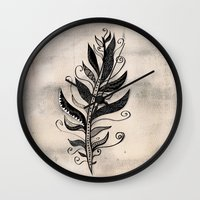 feather Wall Clocks featuring FEATHER by Nika