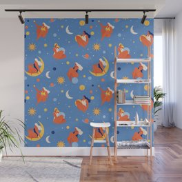Collection of women holding planet with dream universe. Wall Mural