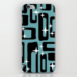 Retro Mid Century Modern Abstract Pattern 677 Black Turquoise iPhone Skin