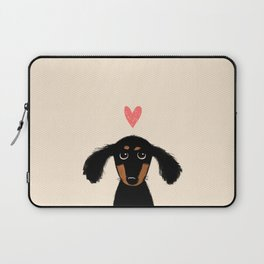 Dachshund Love | Longhaired Black and Tan Wiener Dog Laptop Sleeve