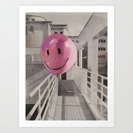 Floating Pink Balloon Art Print