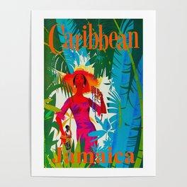 Vintage Caribbean Travel - Jamaica Poster