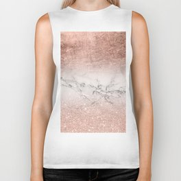 Modern faux rose gold glitter and foil ombre gradient on white marble color block Biker Tank