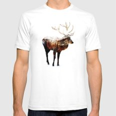 Arctic Deer White Mens Fitted Tee MEDIUM