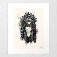 headdress Art Prints featuring Headdress by Caleb Swenson