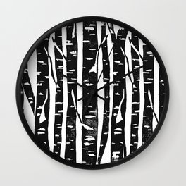Woodcut Birches Black Wall Clock
