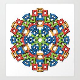 aztec mandala big sun Art Print