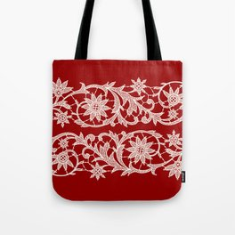 Red Backgrounds. White Lace Ribbon. Tote Bag