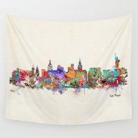 las vegas Wall Tapestries featuring Las Vegas Nevada skyline by bri.buckley