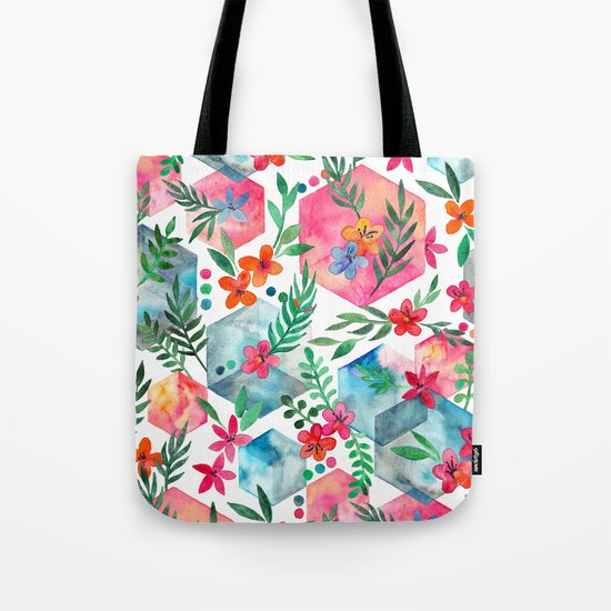 Whimsical Hexagon Garden on white Tote Bag