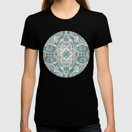 Teal and grey dirty denim textured boho pattern T-shirt