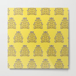 Indian Floral Motif Pattern - Blue and Yellow Metal Print