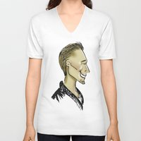 sweater V-neck T-shirts featuring Hiddles Sweater by Rowena Leavy
