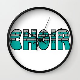 Choir with Turquoise and Silver Music Striped Font Wall Clock