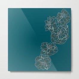 Blue Singular Blossom Metal Print