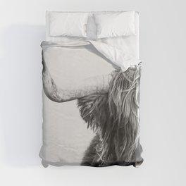 Highland Cow Portrait - Black and White Duvet Cover