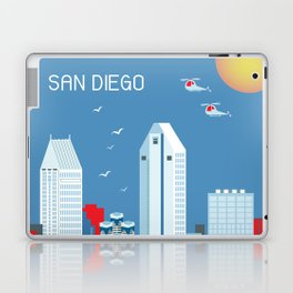 San Diego, California - Skyline Illustration by Loose Petals Laptop & iPad Skin
