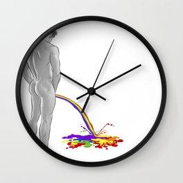 Rainbow pee Wall Clock