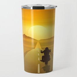Biker On Route 66 Travel Mug