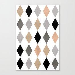 Scandinavian pattern . Grunge. Diamonds . Canvas Print