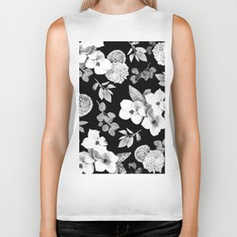 Night bloom - moonlit bw Biker Tank
