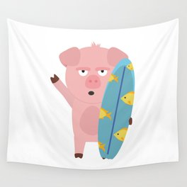 Surfin Pig with Surfboard Bahqt Wall Tapestry