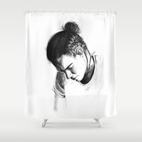 harry styles Shower Curtains featuring Braids by Judit Mallol