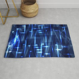 Glowing night geometry of dark blue cosmic stripes and extreme lines. Rug