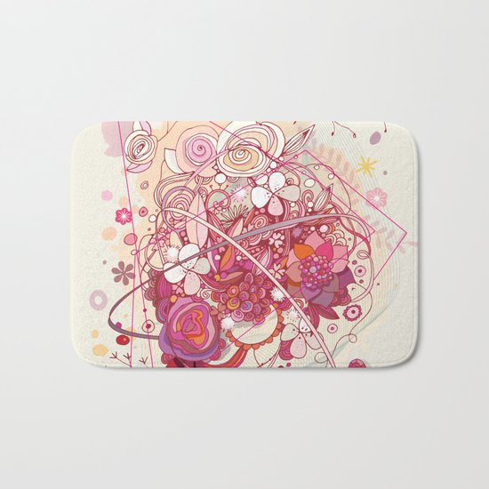 Floral universe orbit Bath Mat