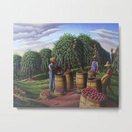 Autumn Apple Harvest, Farmers Picking Apples Metal Print