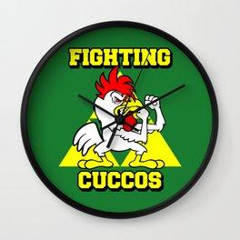 Fighting Cuccos Wall Clock