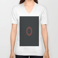 burgundy V-neck T-shirts featuring Burgundy Disarray by Jane Lacey Smith