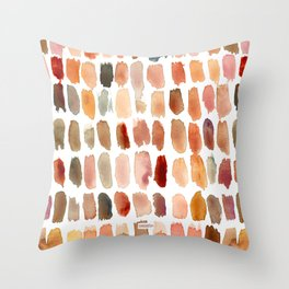 SKIN SWATCHES Watercolor Brushstrokes Throw Pillow