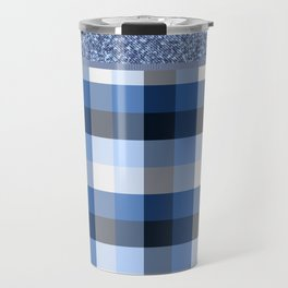 Denim and gingham - mixed Travel Mug